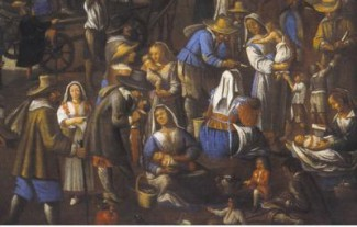 Le balie in un dipinto del XVII Secolo sull'attività dell'ospedale Maggiore (foto Policlinico di Milano